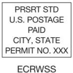 Permit Imprint Indicia example EDDM Mail Postcard